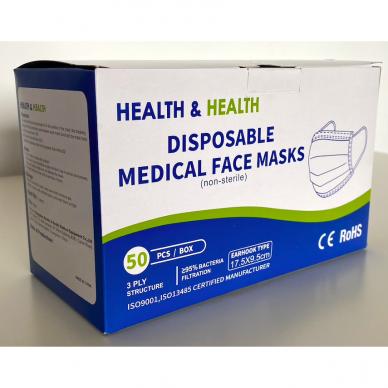 Medicininės vienkartinės kaukės 50 vnt 2