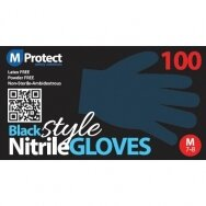 Vienkartinės nitrilo pirštinės be pudros mprotect, juodos 100vnt